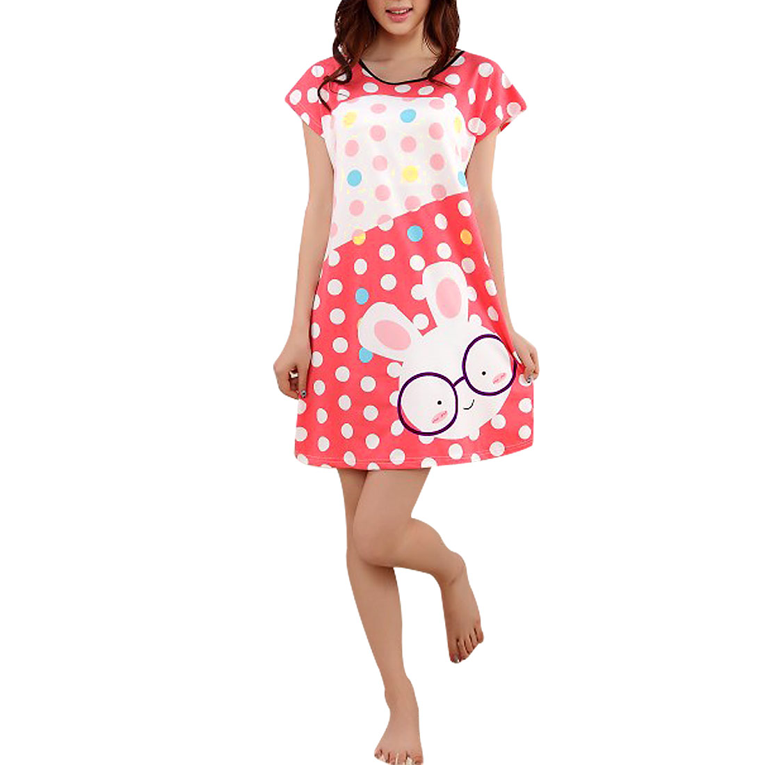 Woman Round Neck Short Sleeves Dots Coral Pink White Long Shirt Nightgown XS