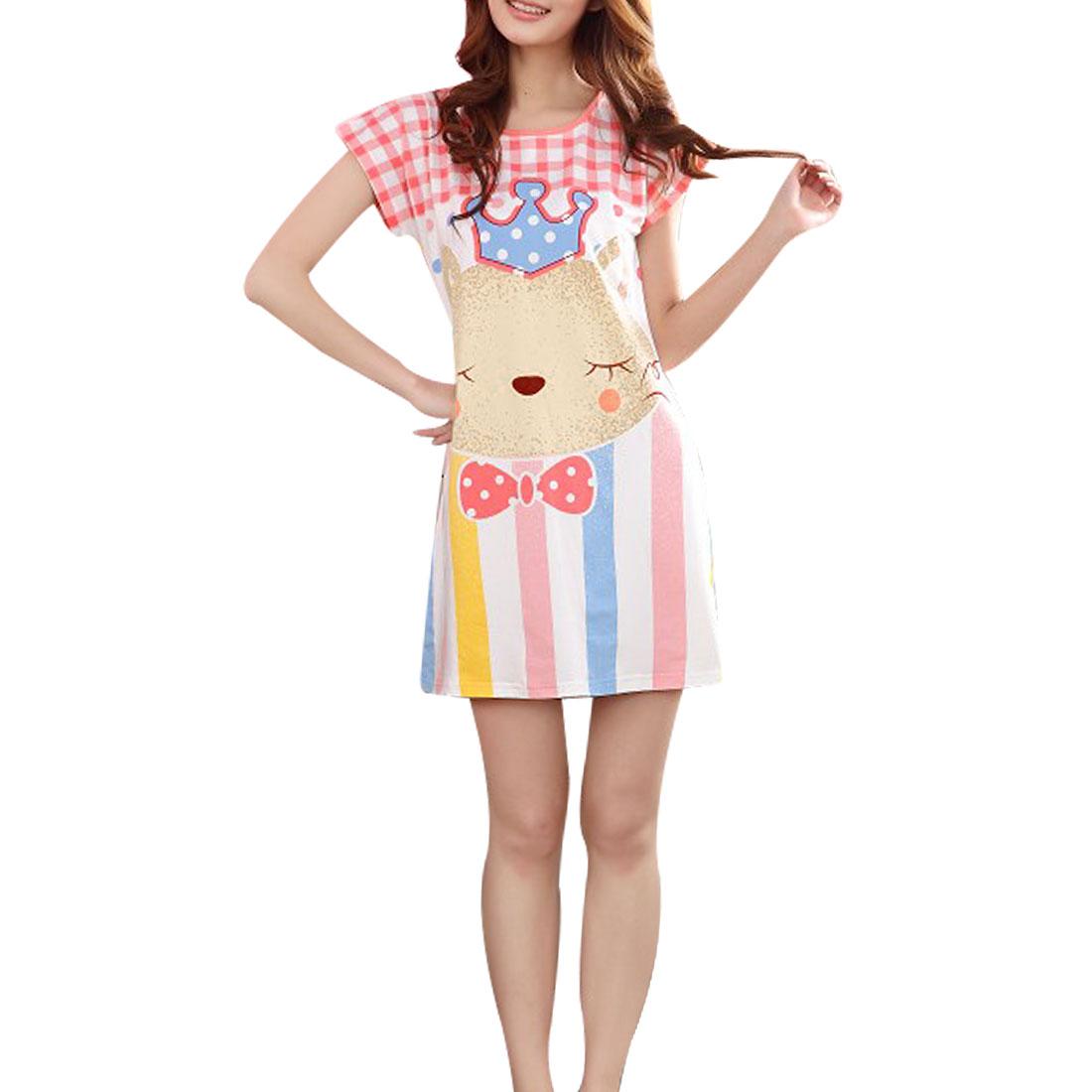 Lady Cartoon Pattern Short Sleeves Round Neck Sleep Dress Nightgow Pink White Beige XS