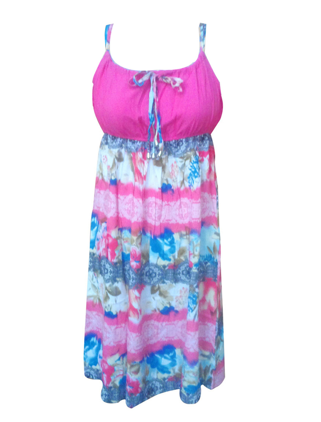 Ladies Colorful Floral Pattern Nightgown Sleep Dress XS