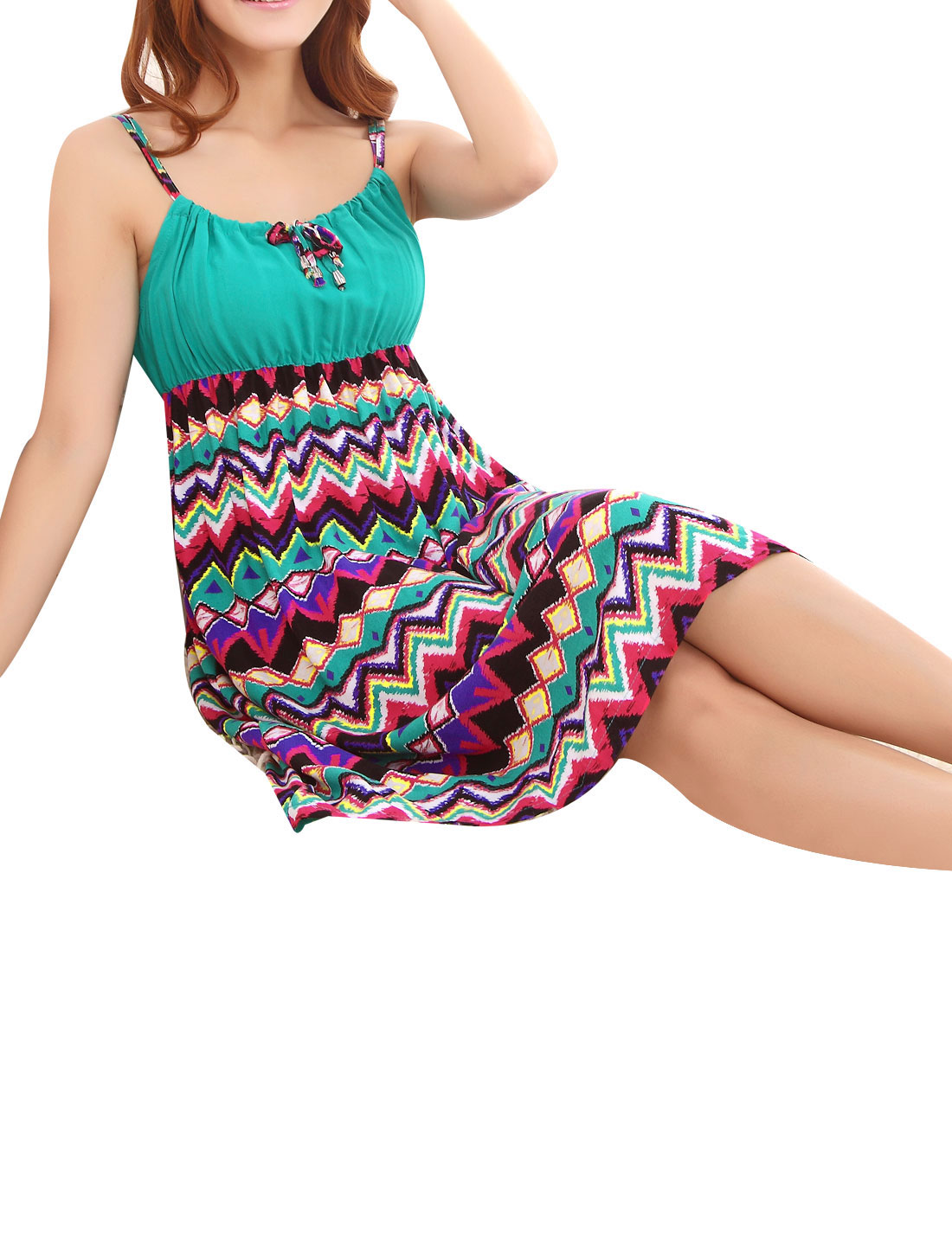 Woman Sleeveless Colorful Zigzag Pattern Nightgown Dress XS