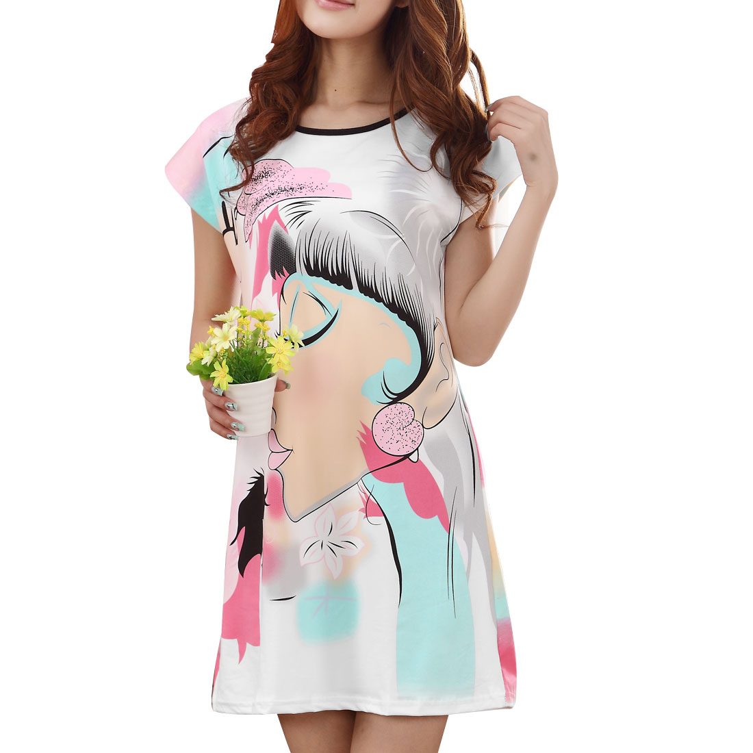 Women Flower Pattern Round Neck Casual Sleepshirt Rainbow Color XS