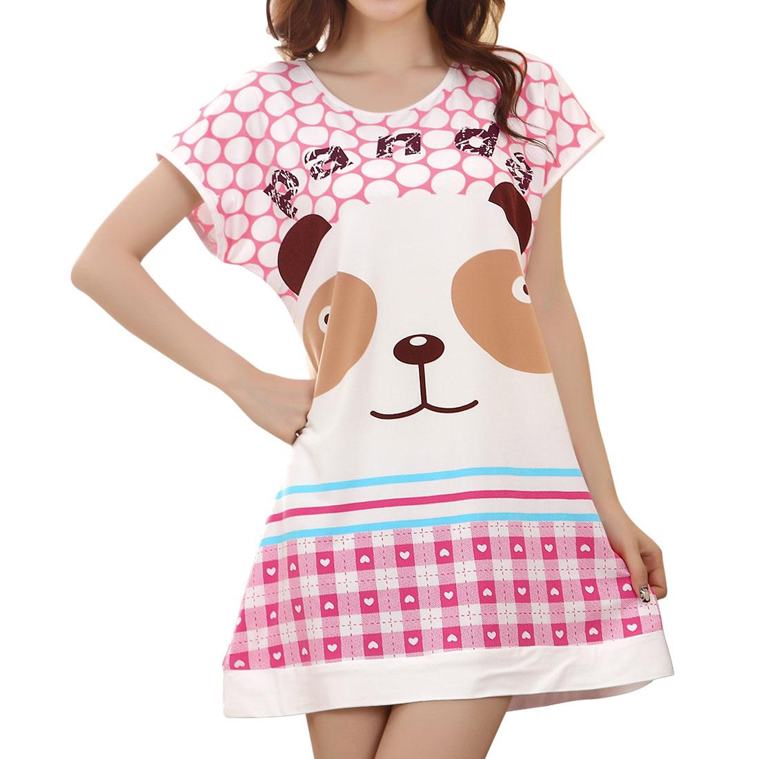 Woman Round Neck Dots Bear Pattern Pink White Sleepshirt Nightgown XS