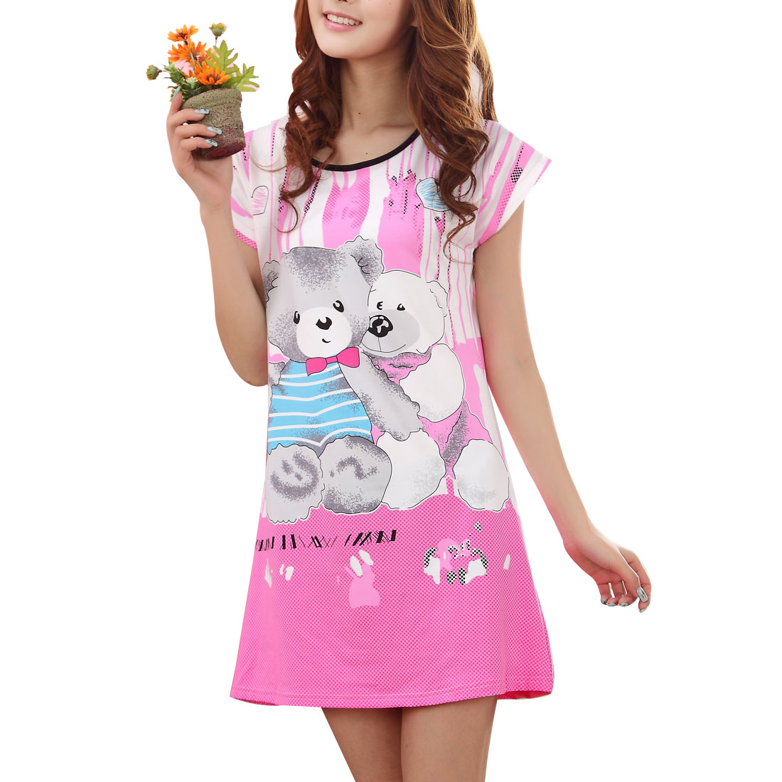 0108 Lady Cartoon Pattern Short Sleeves Round Neck Sleep Dress Nightgown XS