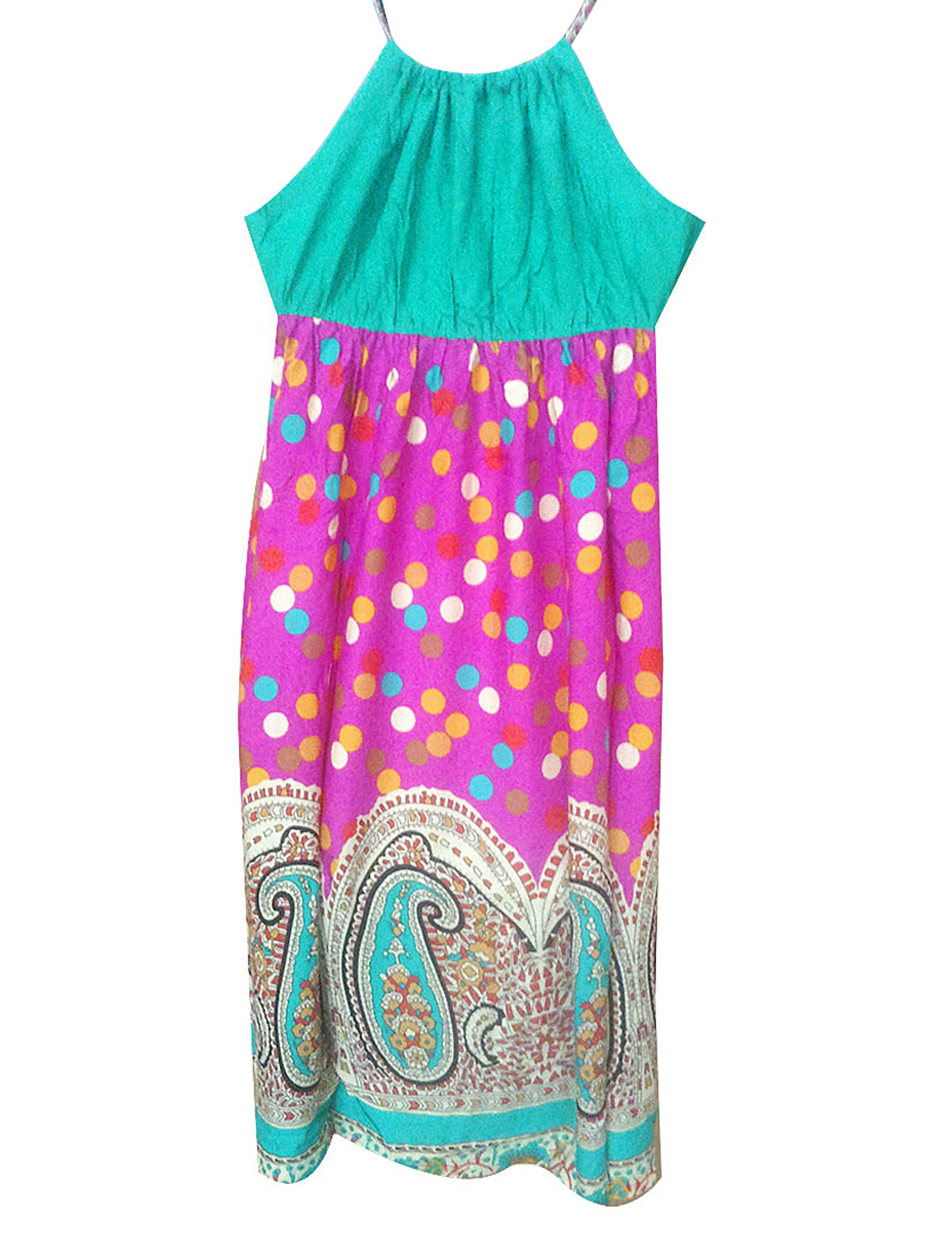 Ladies Dots Paisley Pattern Green Fuchsia Beige Nightgown Sleep Dress XS