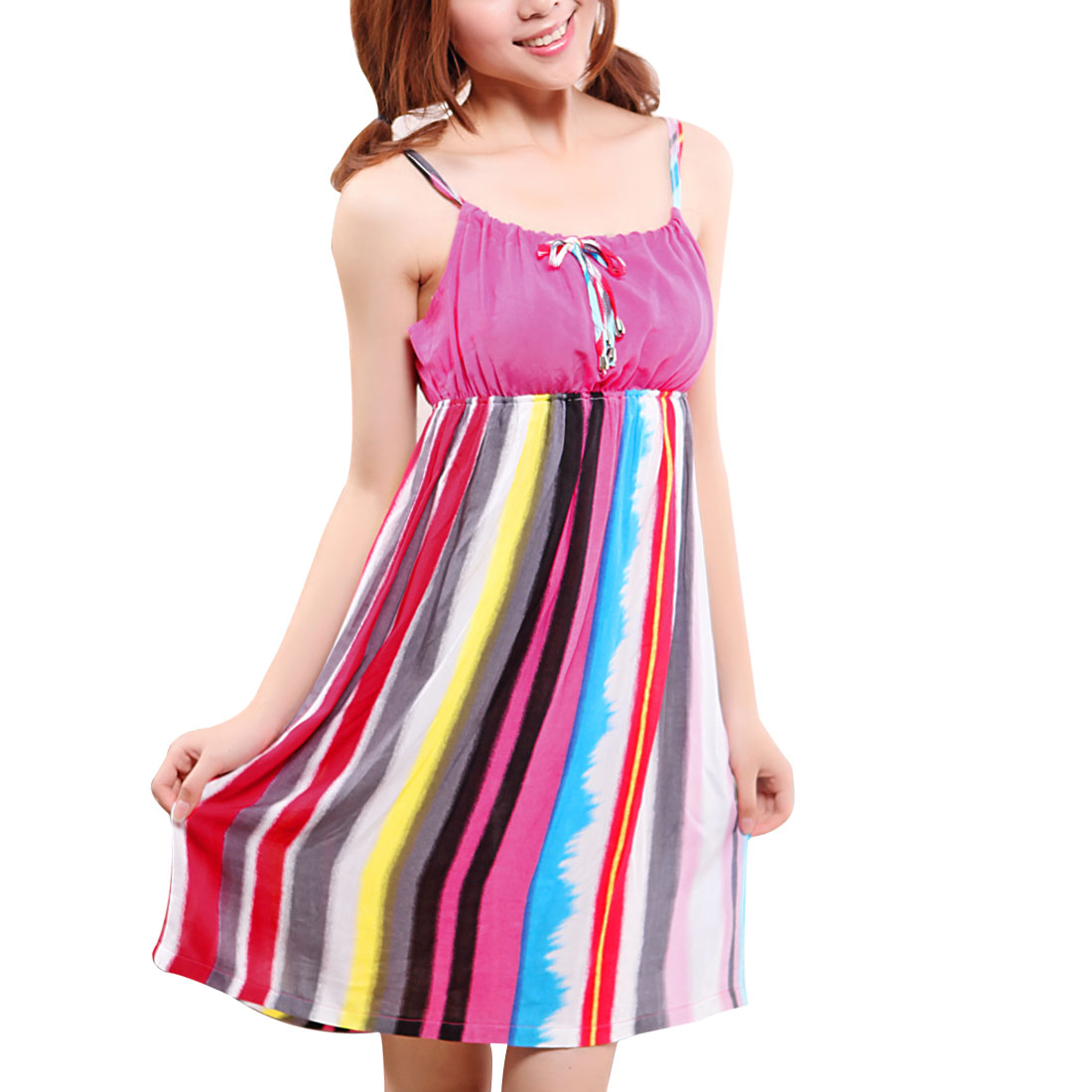 Ladies Colorful Vertical Striped Pattern Nightgown Sleep Dress XS