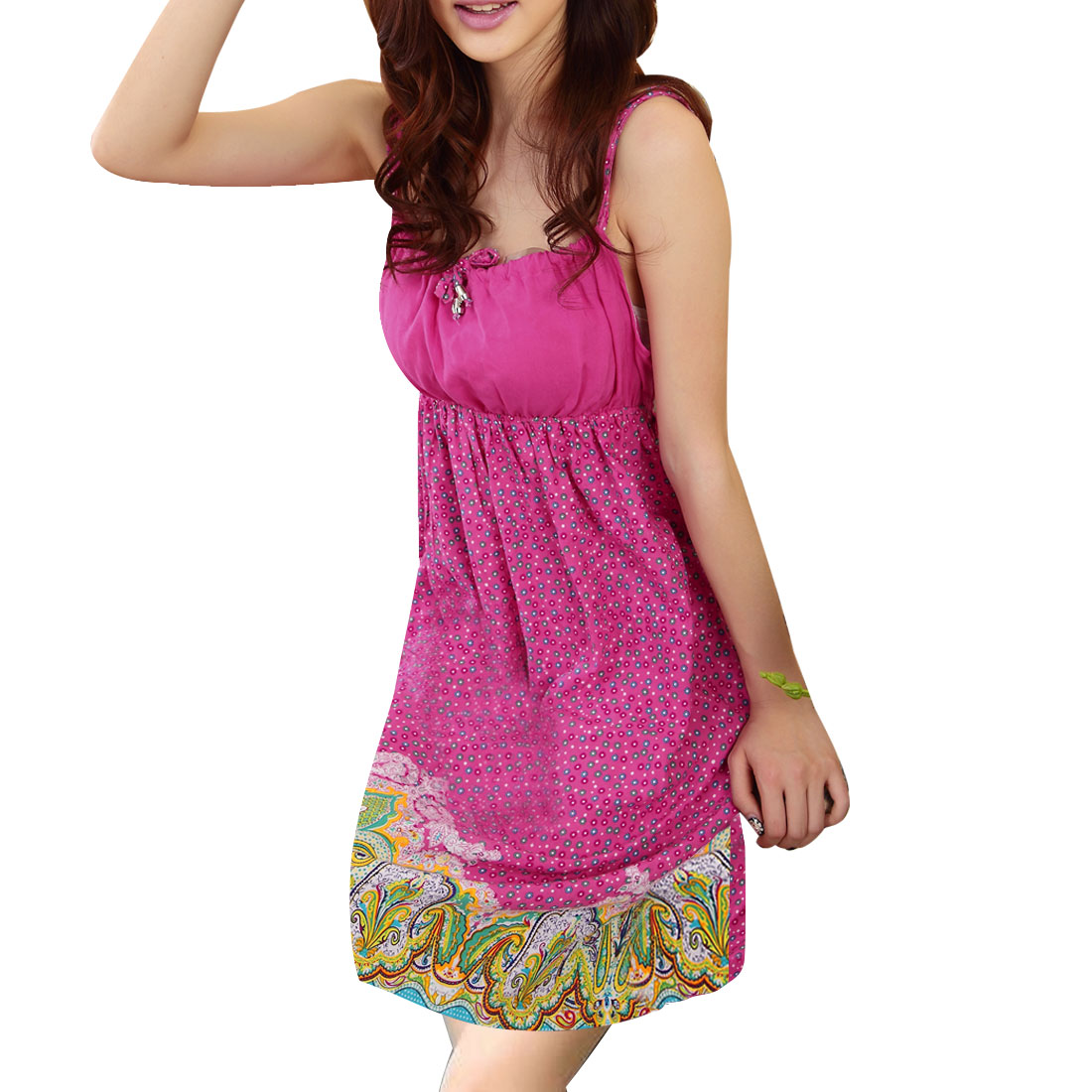 0405 Ladies Colorful Paisley Flower Pattern Sleeveless Fuchsia Sleep Dress