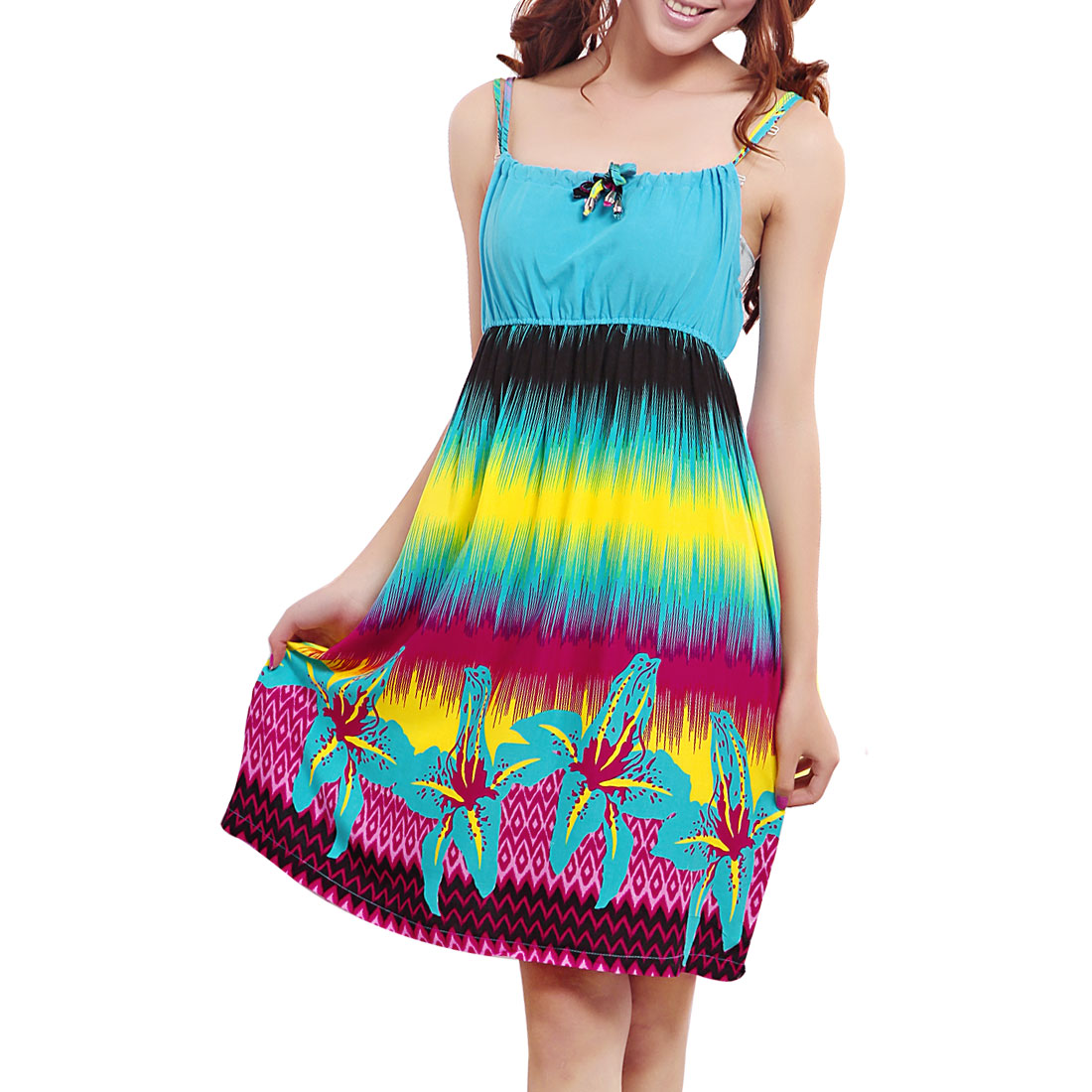 Women Flower Printed Colorful Empire Waist Nightgown Dress XS
