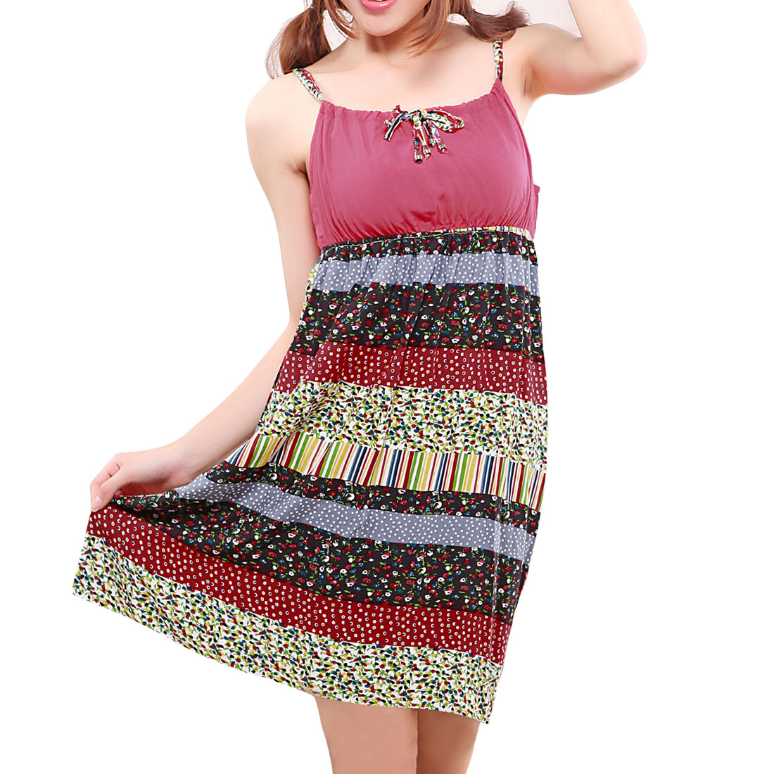 Woman Floral Colorful Sleeveless Slip Nightgown Dress XS