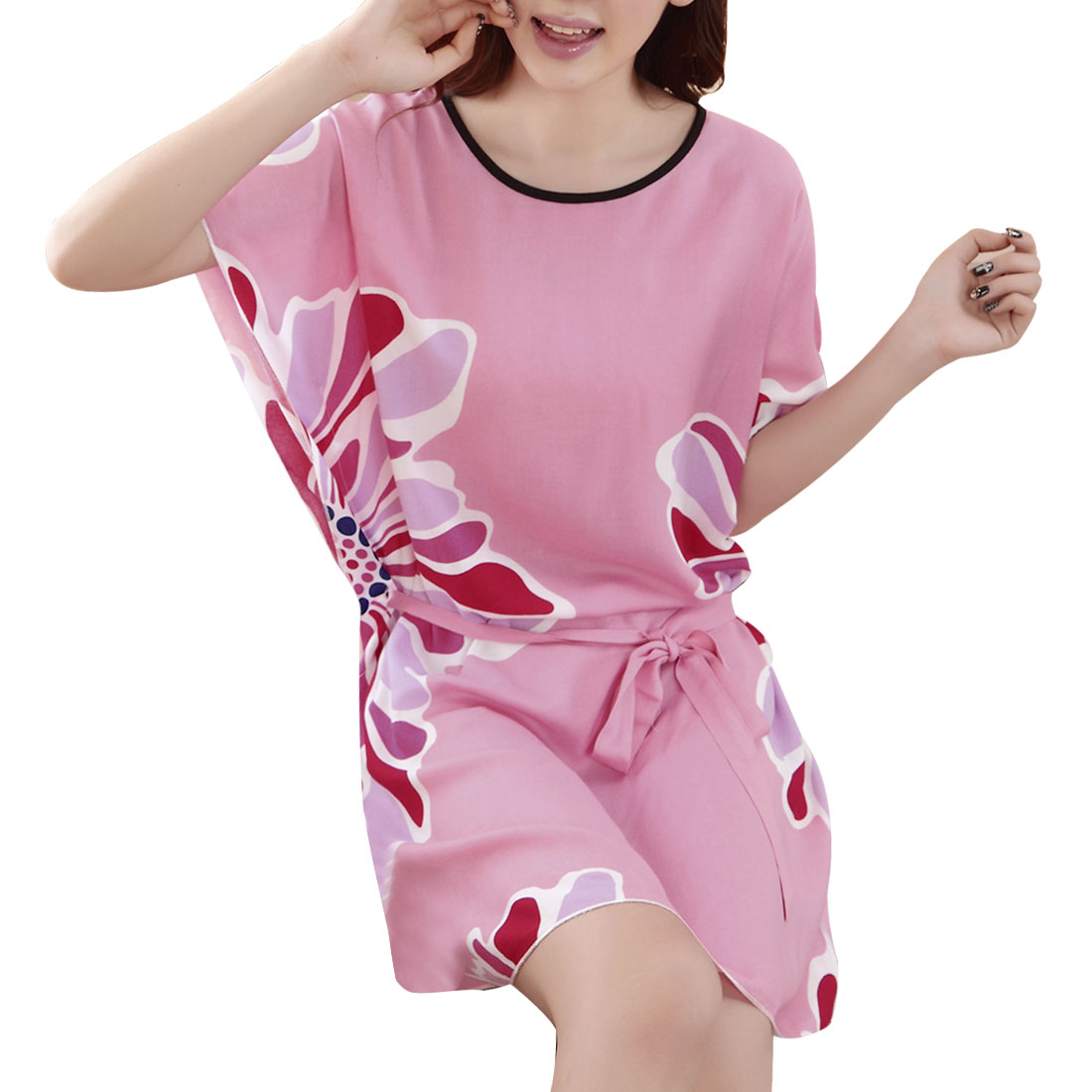 Floral Pattern Round Neck Adjustable Strap Pink Sleep Dress M for Ladies