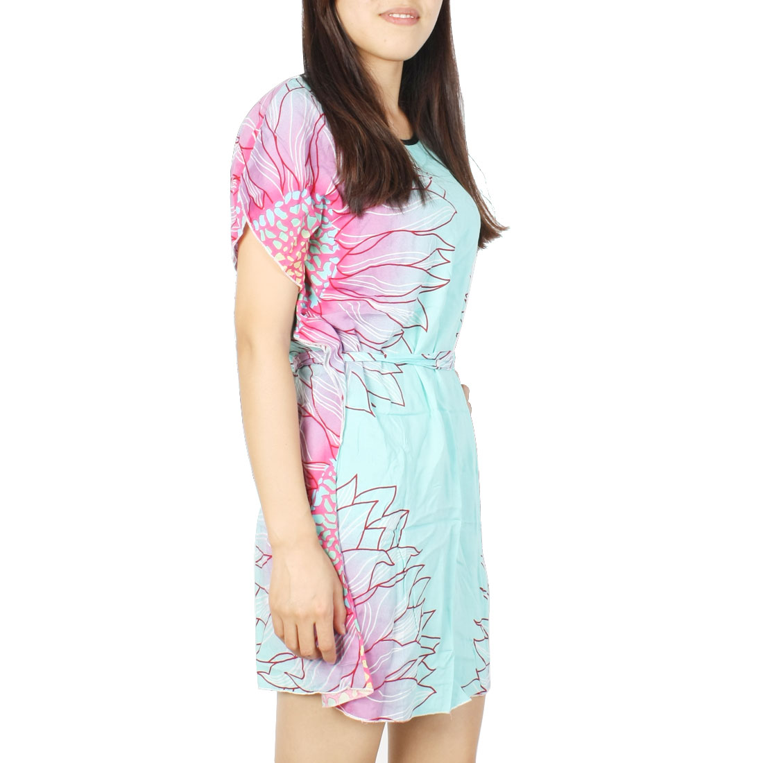 Ladies Flower Pattern Round Neck Adjustable Strap Sleep Dress S Blue