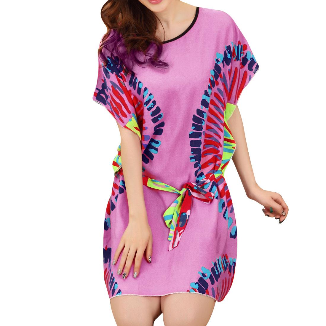 Ladies Stripes Pattern Round Neck Adjustable Strap Sleep Dress Pink S