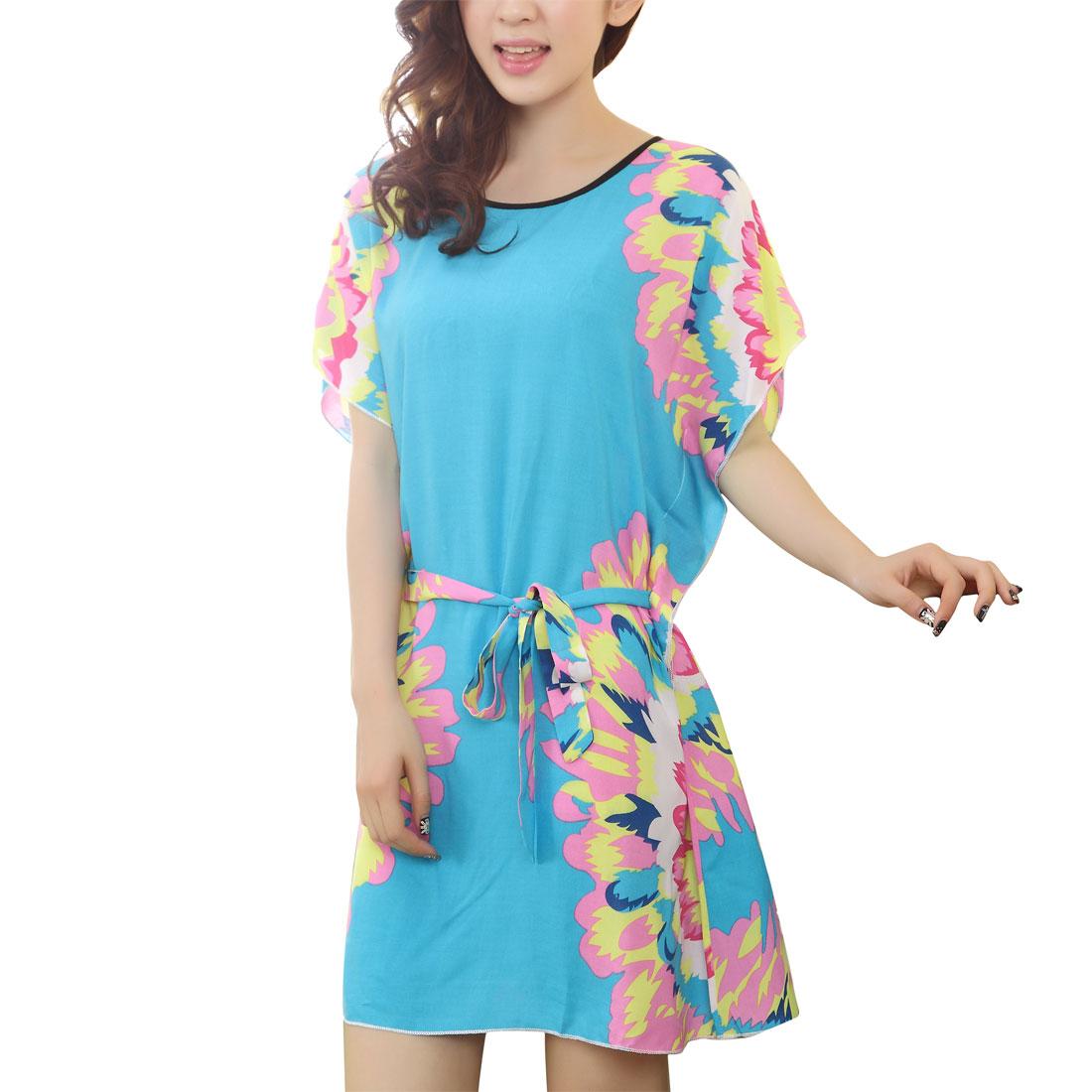 Women Pink Yellow Flower Sky Blue Flutter Sleeves Sleep Dress S