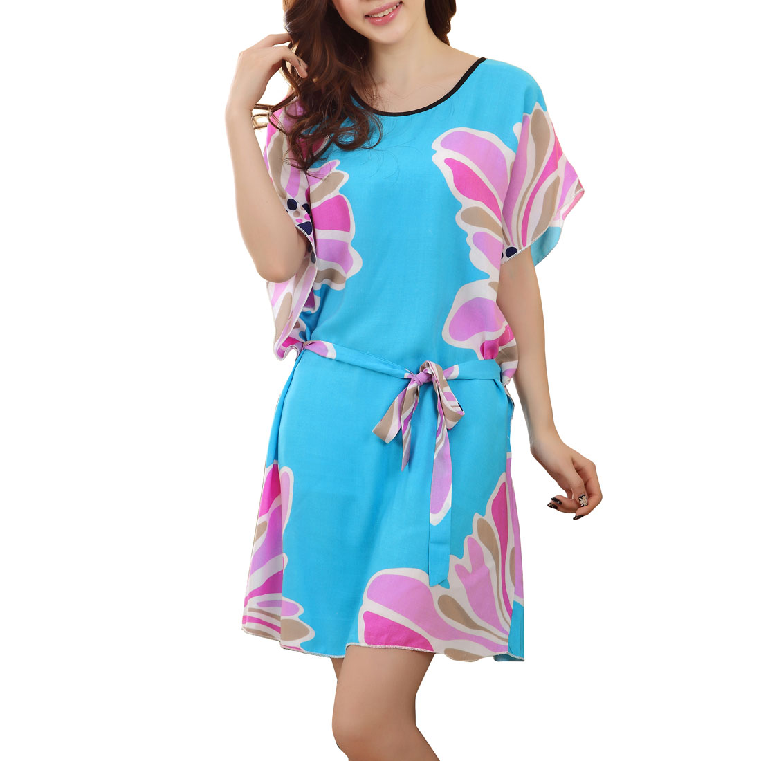 Women Floral Printed Selt Tie Strap Nightwear Chemise Sleep Dress Blue M