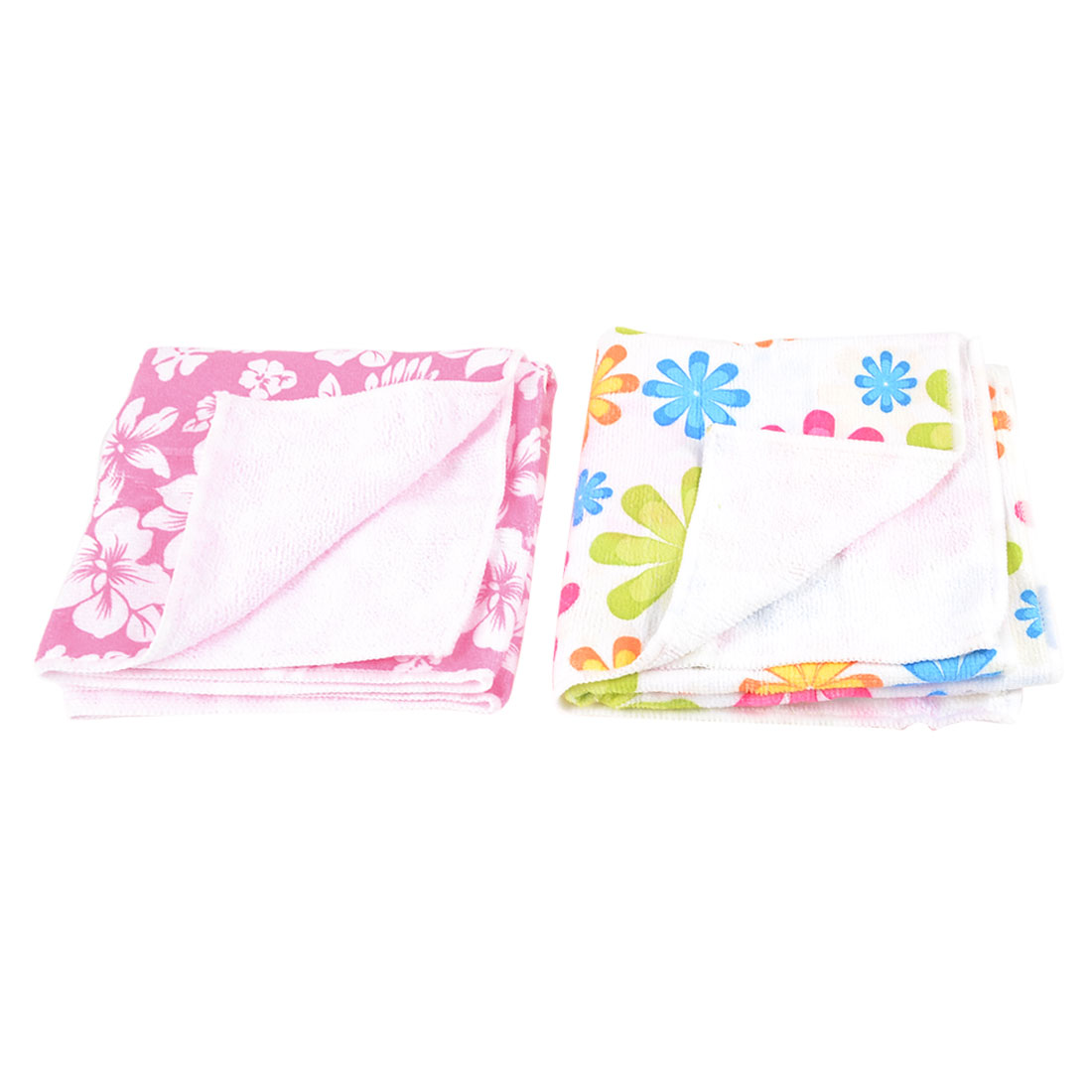 2 Pcs Colorful Rectangle Shape Flower Print Fiber Hair Towel Cloth