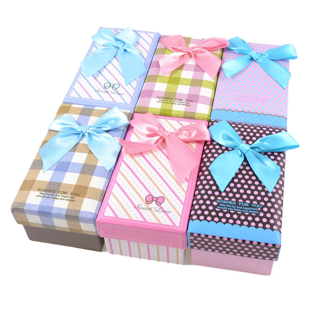 6 Pcs Bowtie Accent Rectangle Design Cardboard Gift Cases Present Boxes Assorted Color