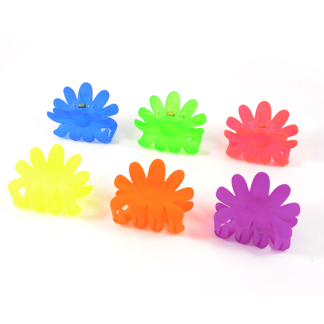 Lady Girls Sunflower Shape Assorted Color Plastic Jaw Hair Claw Clips 6 Pcs