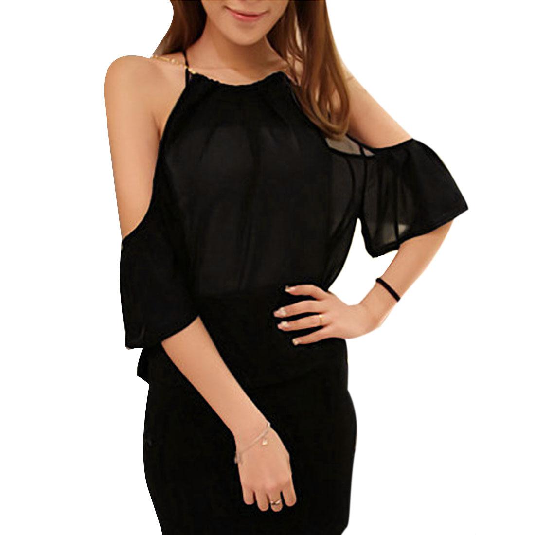 Women Scoop Neck Round Hem Semi Sheer Summer Casual Blouse Black S