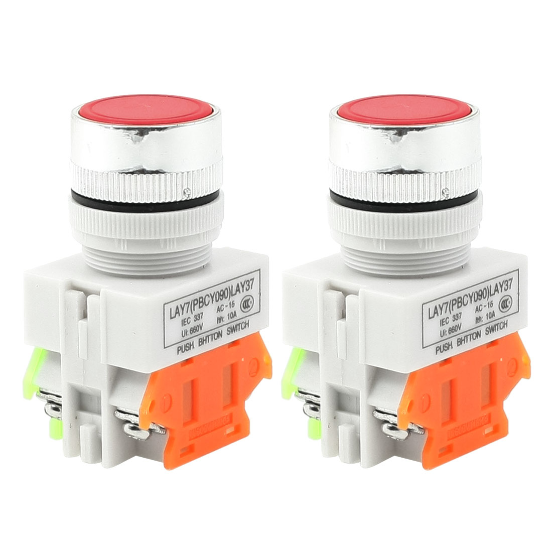 2 Pcs Round Red Cap 2Terminal Momentary Electric Push Button Switch AC 660V 10A