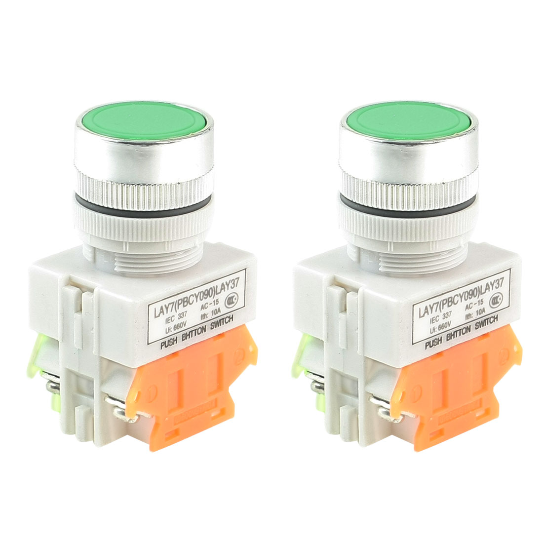2 Pcs Round Green Cap 1NO 1NC Non Locking Push Button Switch AC 660V 10A