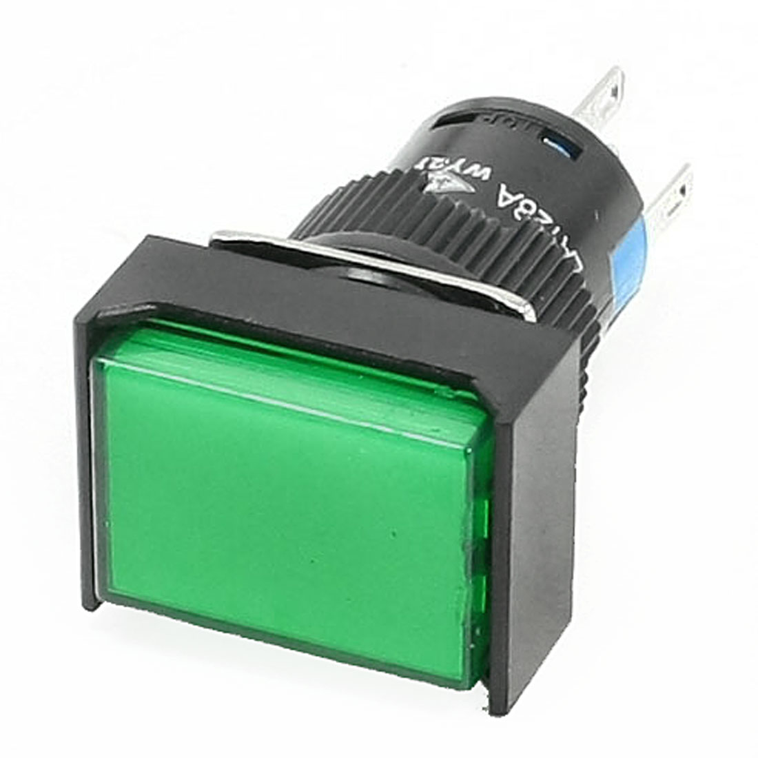 AC 250V 3A DC 30V 5A Terminals Green Rectangle Cap Momentary Pushbutton Switch