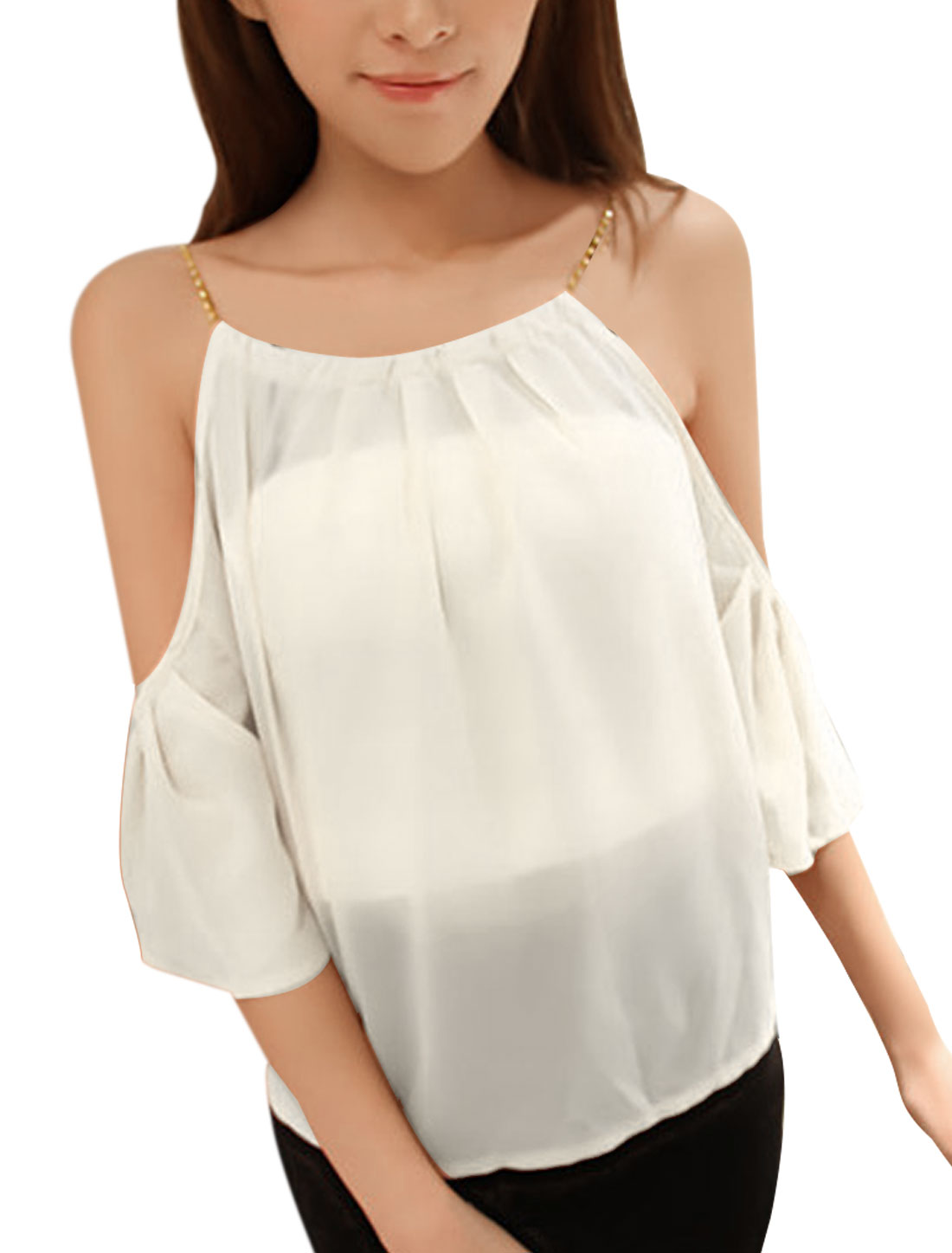 Women Round Hem Transparent Style Scoop Neck Summer Blouse White S