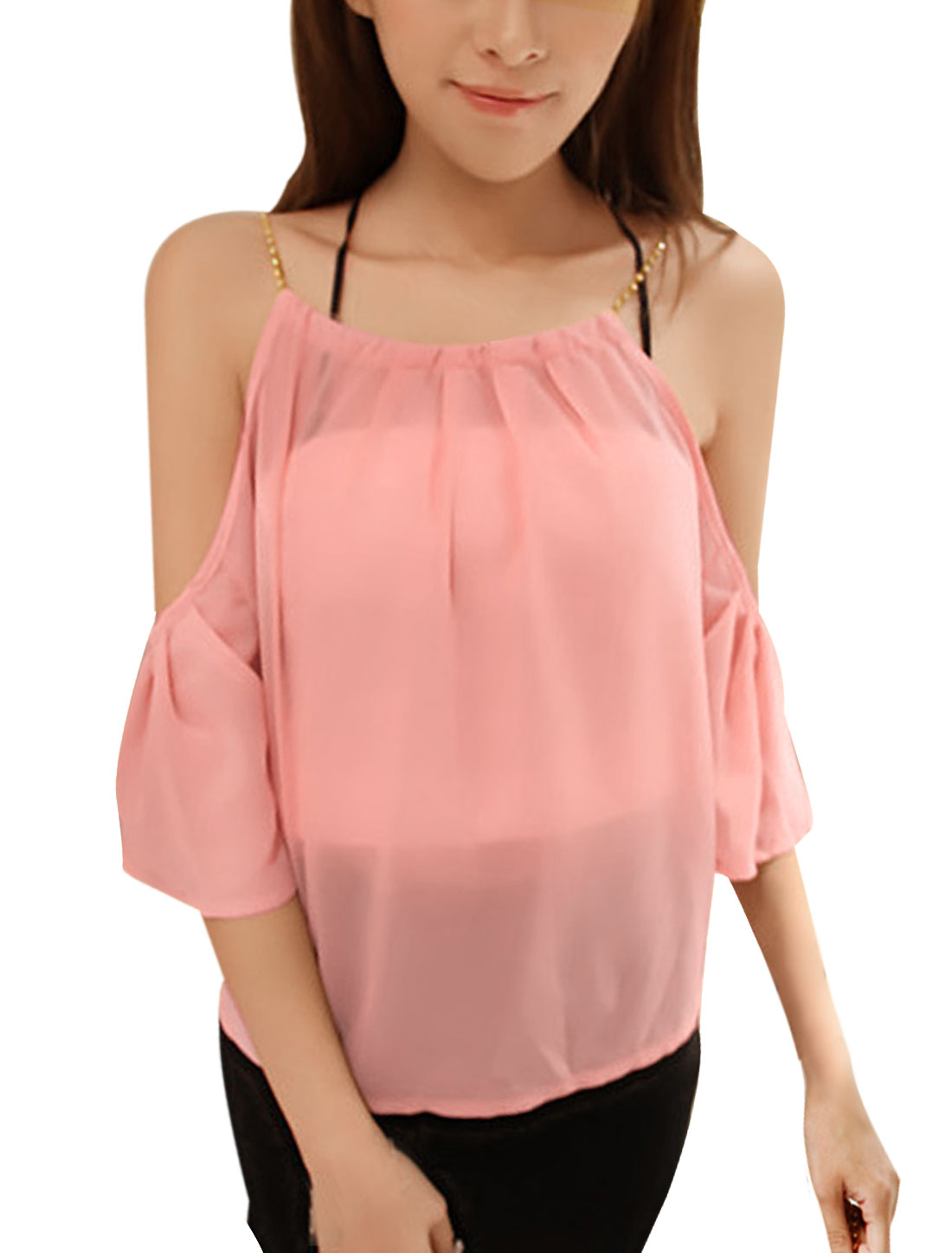 Women Pink S Scoop Neck Round Hem See Through Casual Chiffon Blouse