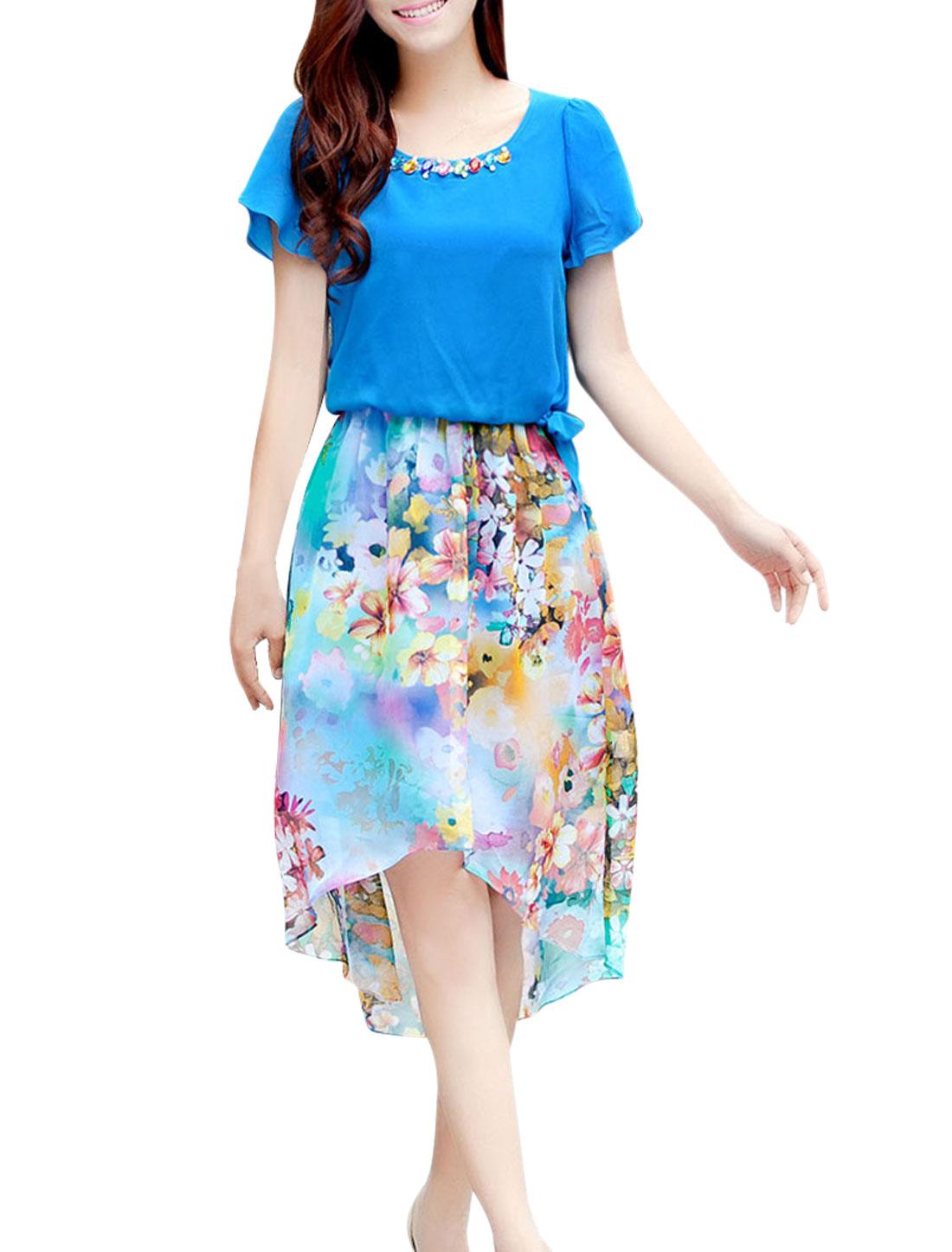 Lady Stretchy Waist Flower Pattern Semi-sheer Bondi Blue Dress XS