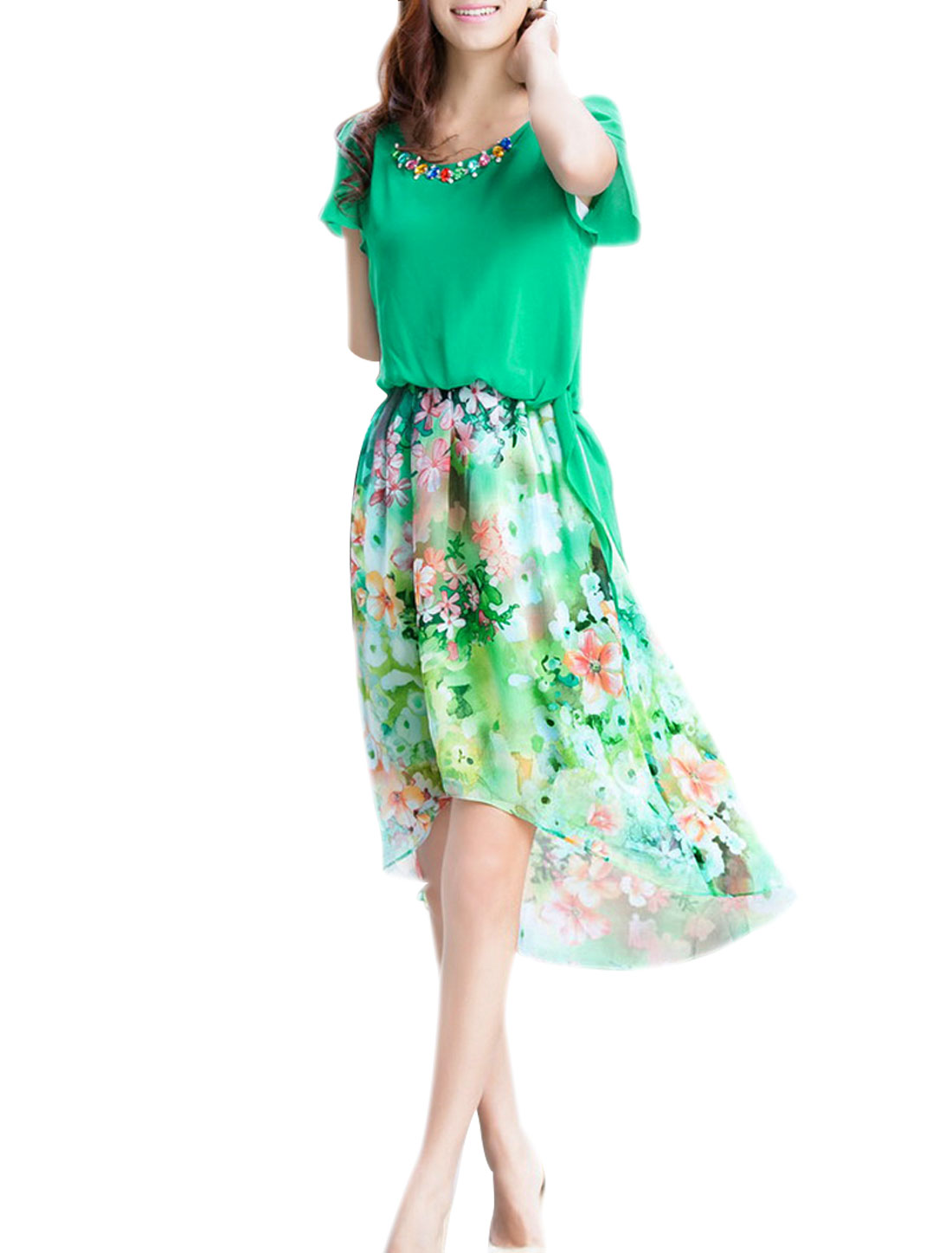 Lady Summer Puff Sleeve Semi-sheer Flower Prints Green Above Knee Dress XS
