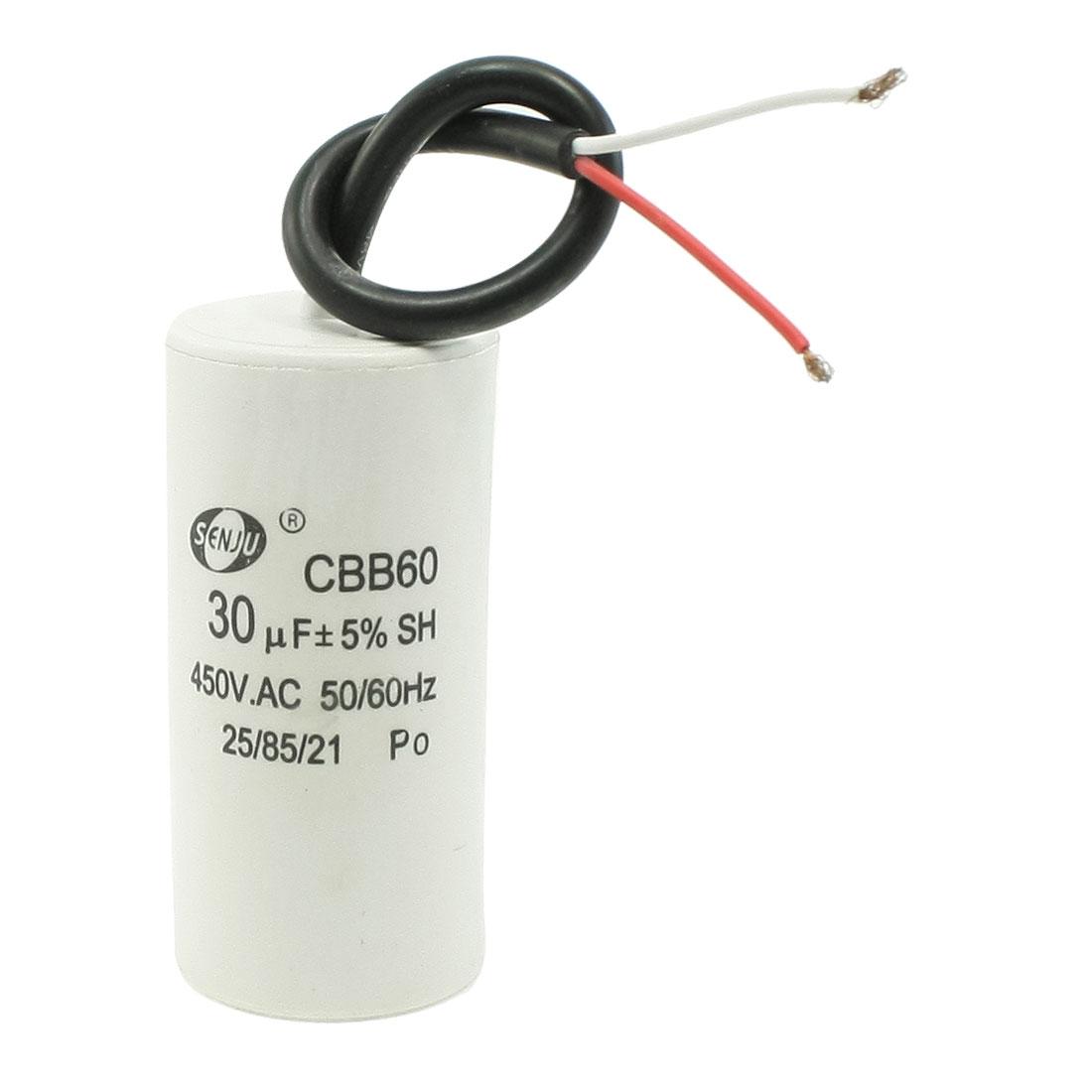 CBB60 AC 450V 30uF Cylinder Shape Non Polar Motor Capacitor