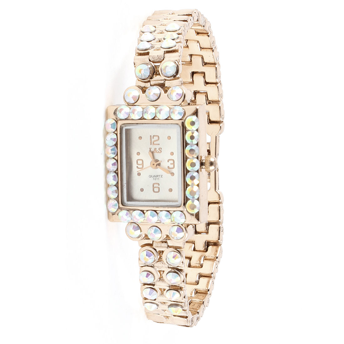Lady Faux Rhinestone Decor Rectangle Dial Gold Tone Metal Strap Wrist Watch