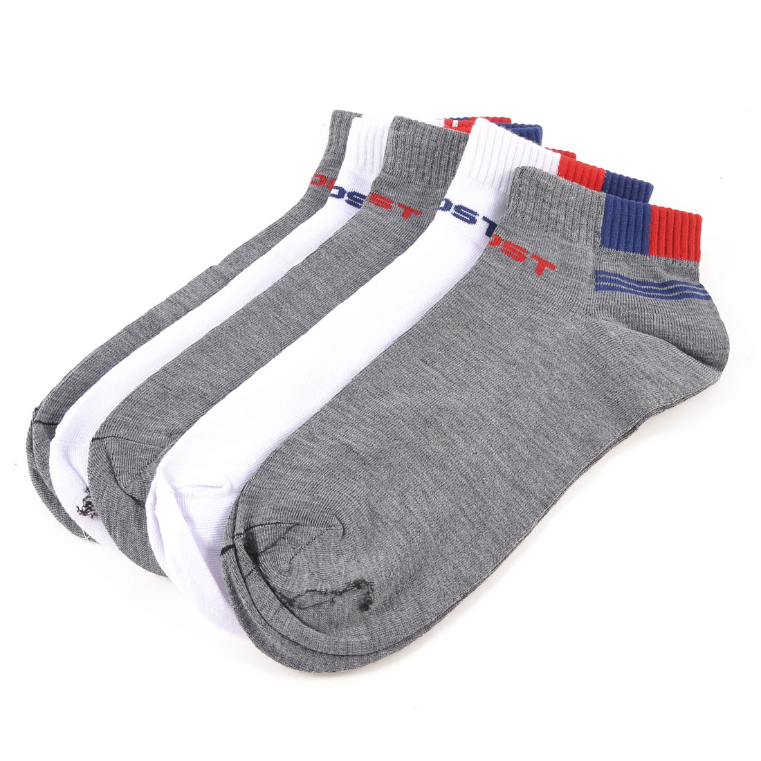 5 Pairs Gray White Stretchy Cuff Striped Sports Ankle Socks for Man