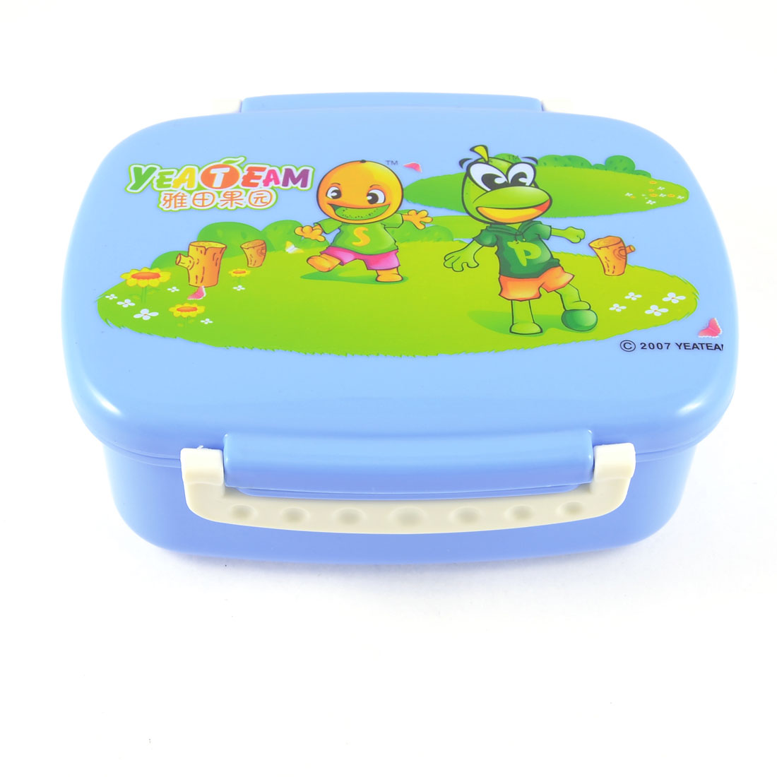 Traveling Cartoon Print Blue Plastic Food Container Lunch Box Case w Green Spoon