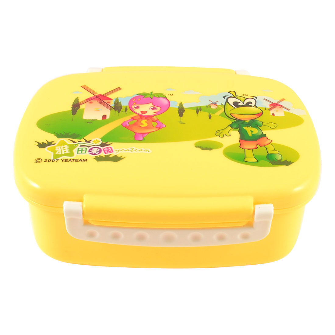 Travel Cartoon Print Orange Plastic Food Container Lunch Box Case w Spoon