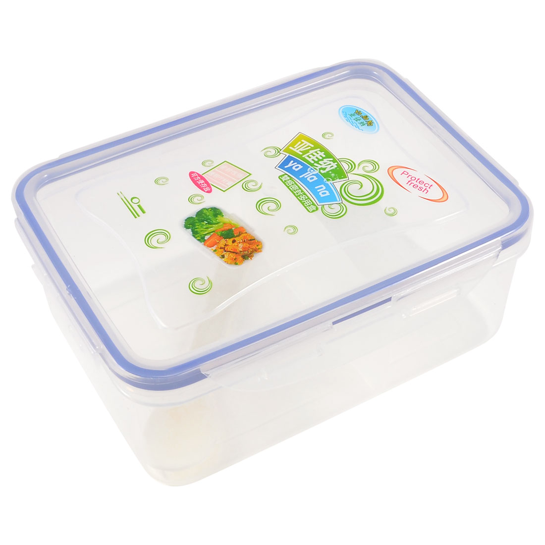 Blue Clear Two Compartment Inside Lunch Box Food Container Crisper w Spoon