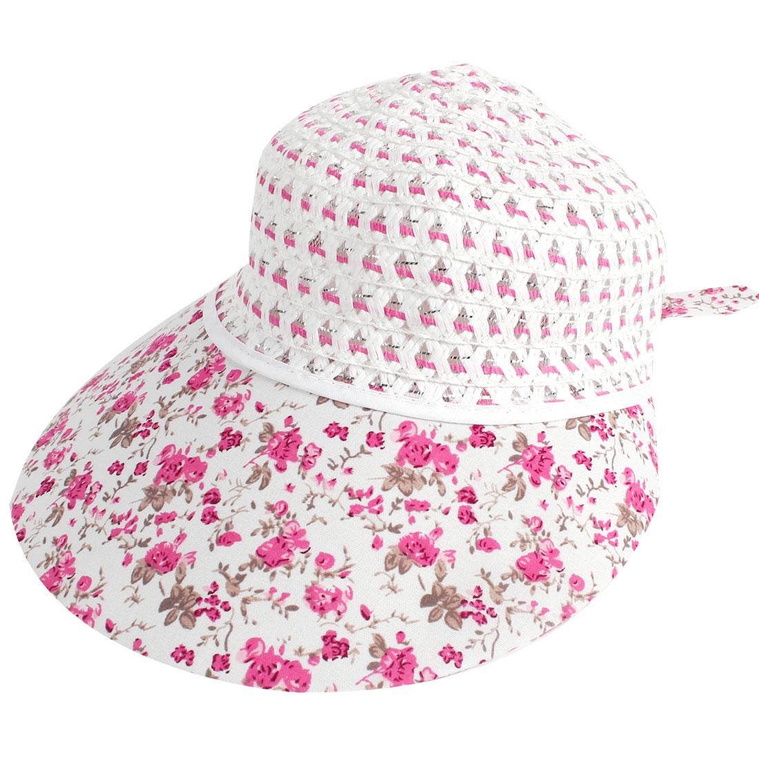 Woman Flower Printed Nylon Mesh Flap Bucket Style Poke Bonnet Hat Cap Pink White