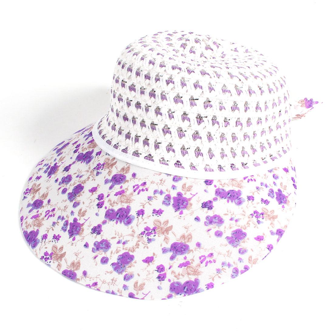 Woman Flower Printed Mesh Flap Bucket Style Poke Bonnet Hat Lavender White