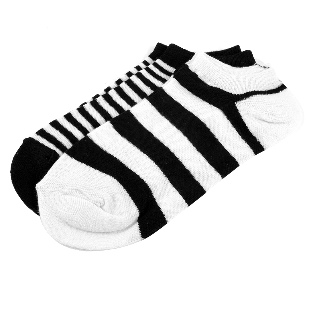 Girls Spring Autumn Elastic Low Cut Ankle Boat Socks Solid Black White 2 Pairs