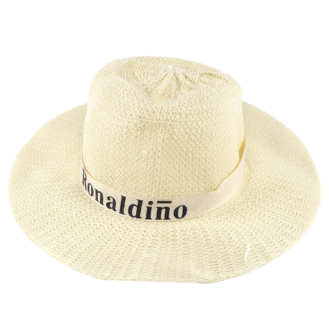 Ladies Beige Ribbon Decoration Check Pattern Summer Hat with White Adjustable Strap