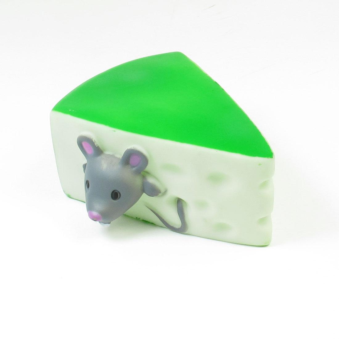 Doggie Puppy Squeeze Squeaker Triangle Sandwich Design Toy Green White