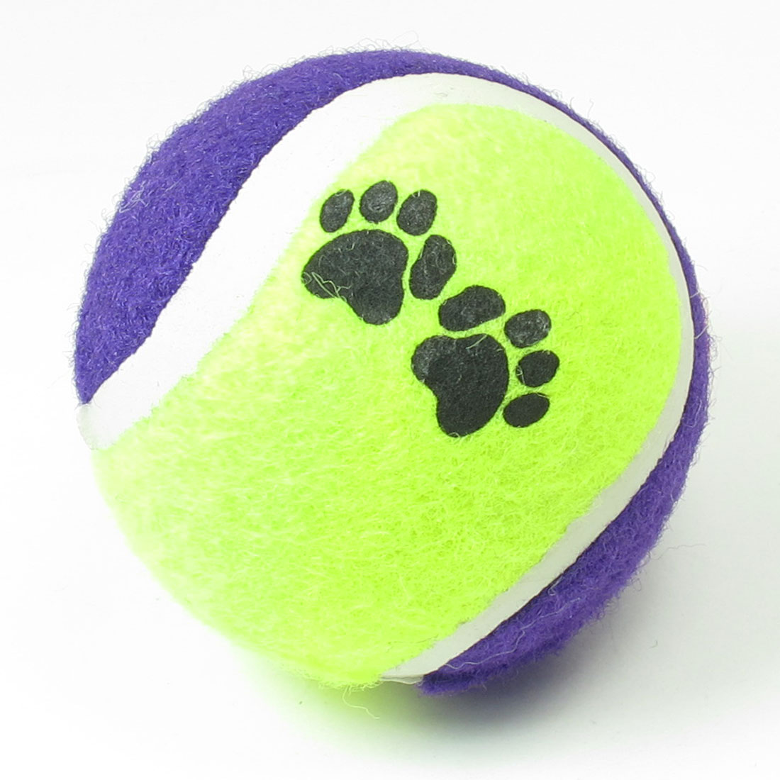 Dog Paw Print Purple Yellow Green Catch Fetch Tennis Ball Toy for Cat Pet