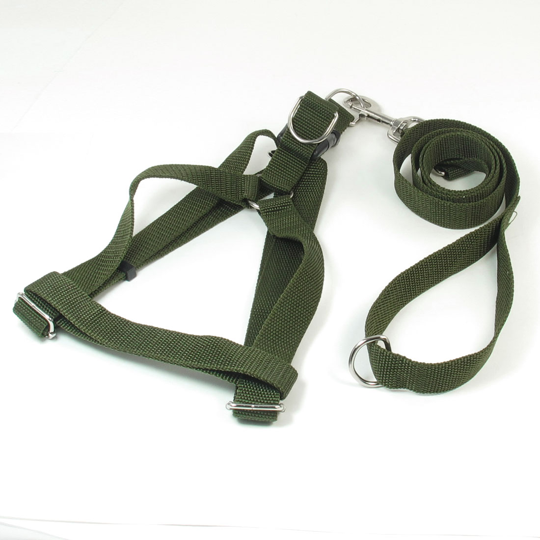 Adjustable 2.5cm Width Rope Doggie Pet Dog Harness Halter Leash Army Green
