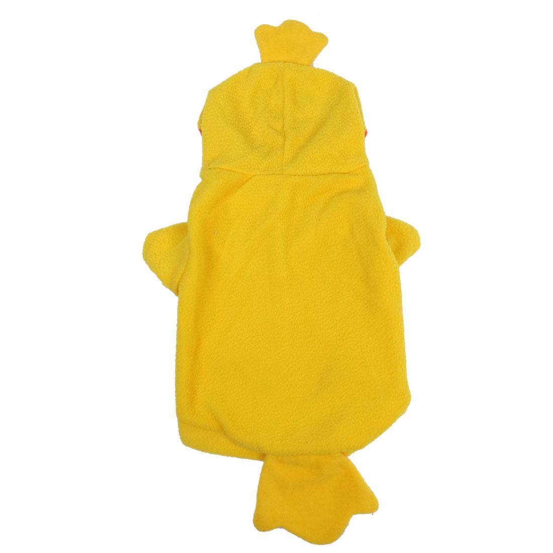 Winter Pet Cat Puppy Duck Shape Hat Apparel Costume Hoodie Coat Yellow Size L