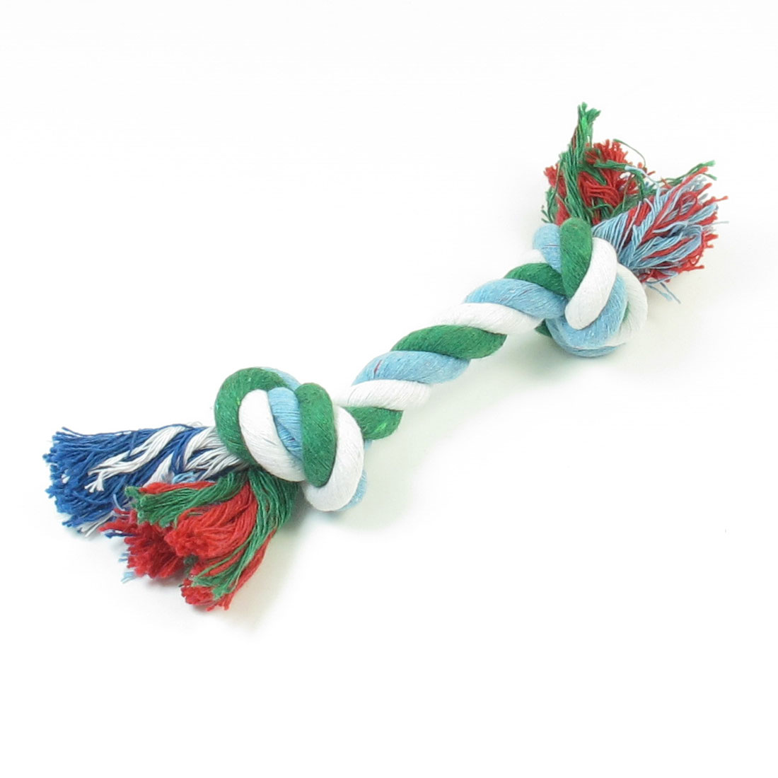 "7.3"" Length Tri Color Cotton Blends Knotted Rope Bone Dog Puppy Pet Toy"