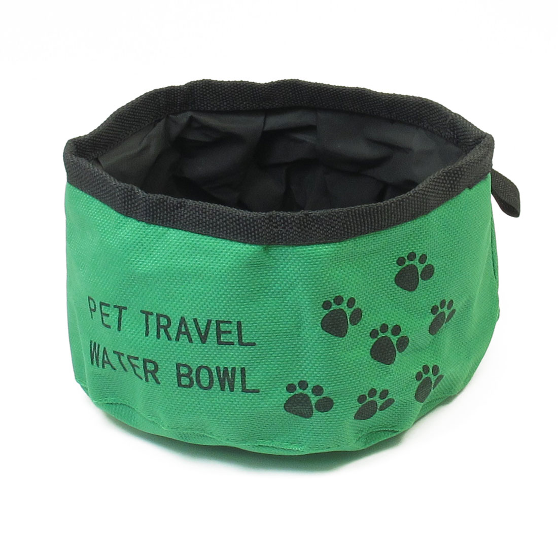 "Portable Travel Outdoor 6.3"" Dia Green Black Cat Puppy Pet Food Water Bowl"