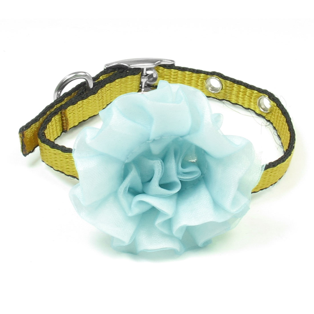 "0.4"" Width Yellow Black Nylon Perfortated Blue Floral Detail Pet Puppy Collar"