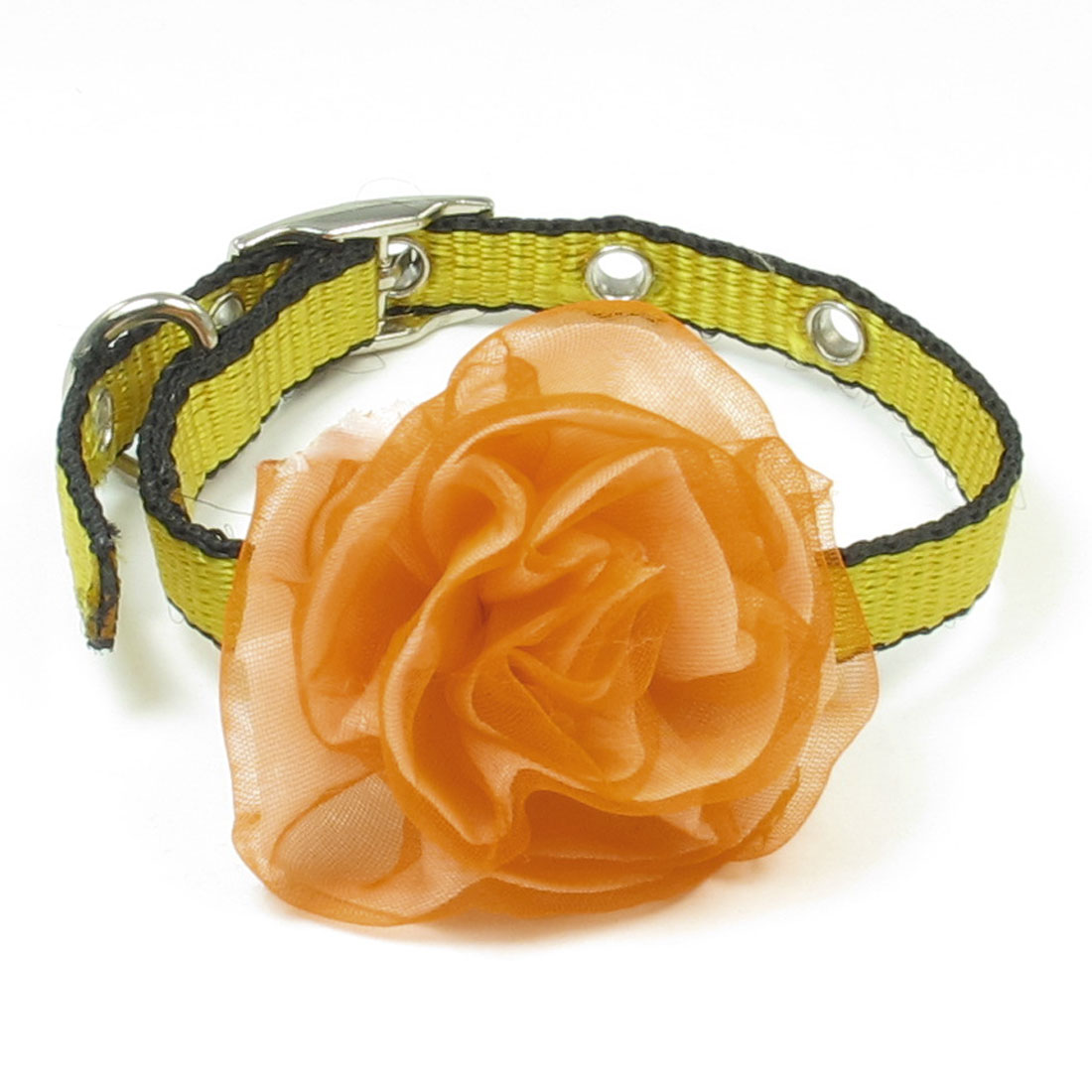 Portable 1cm Wide Yellow Black Perforated Orange Floral Detail Pet Puppy Collar