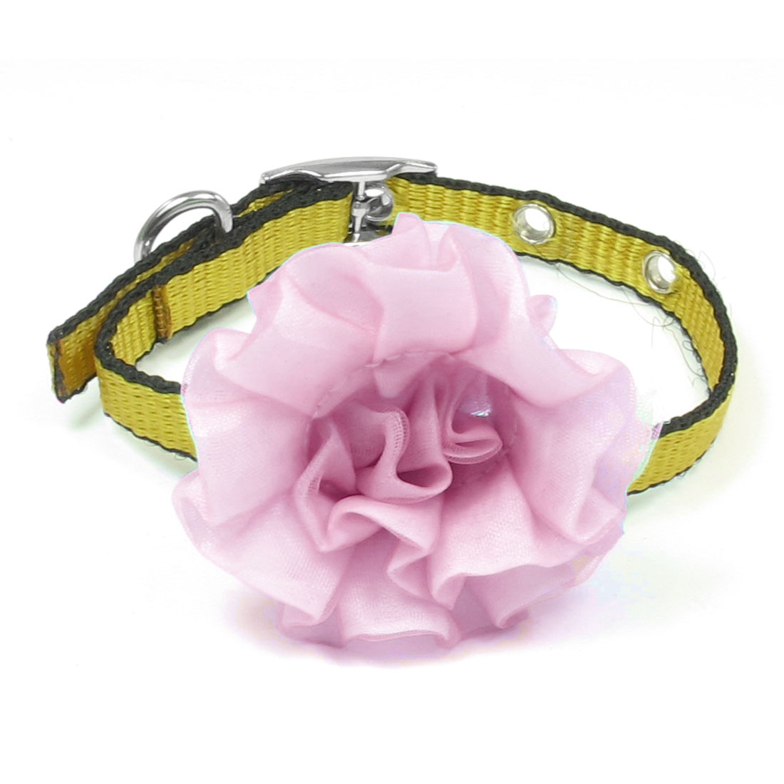 Single Prong Buckle Pink Flower Decor Yellow Black Nylon Pet Collar Necklace