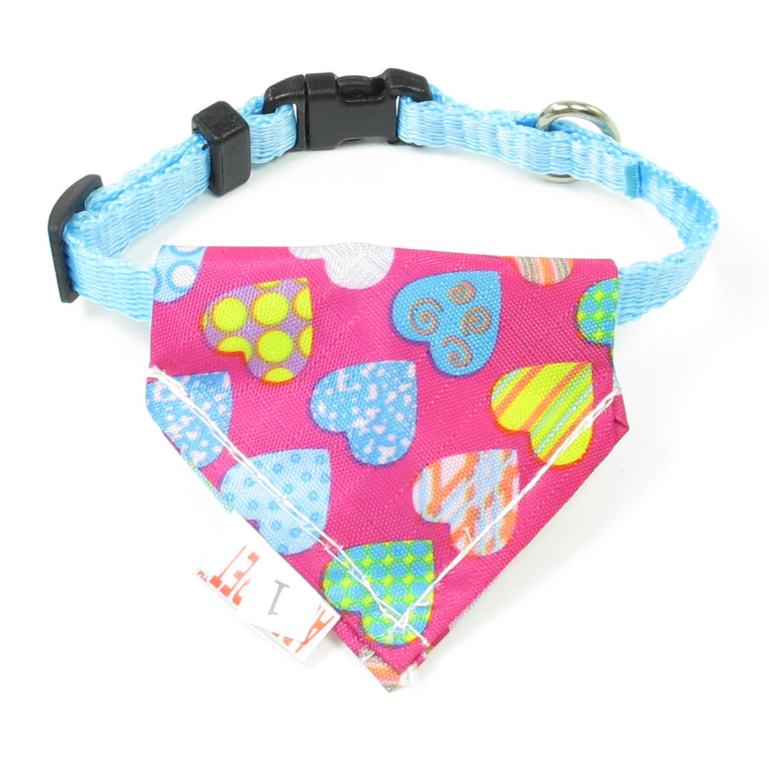 Plastic Side Release Buckle Colorful Hearts Pattern Doggie Bandana Collar Blue