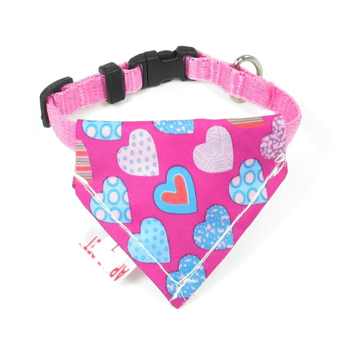 "Pet Adjustable Belt 2.8"" x 2.4"" Triangle Scarf Bandana Neck Collar Ornament Pink"