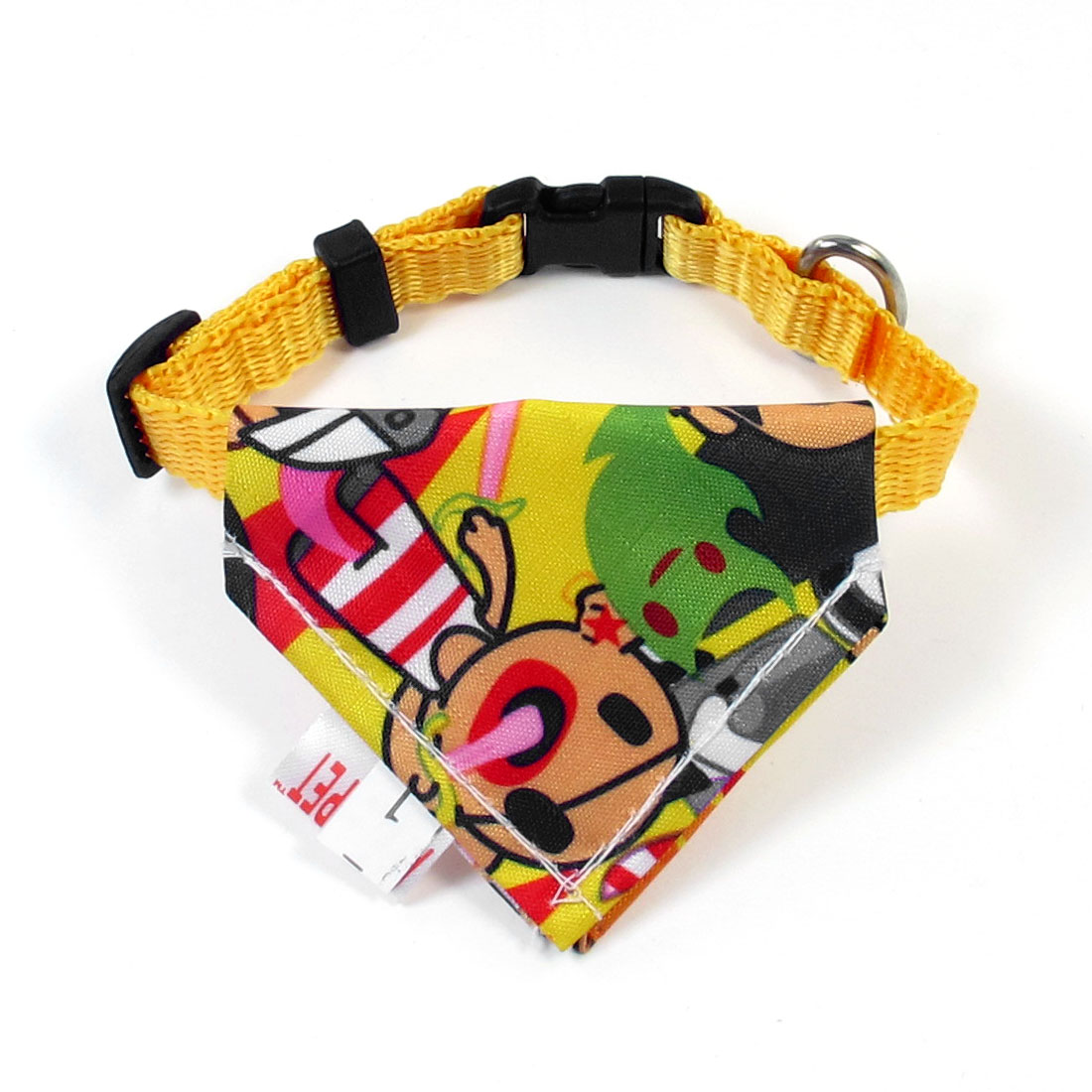 "Pet Adjustable Belt 3"" x 2.4"" Triangle Scarf Bandana Neck Collar Ornament Yellow"